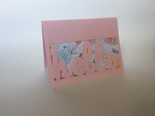 pink flower hello card